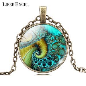 Großhandels-FIBONACCI Spirale-hängende Halskette Fractal-Halsketten-heilige Geometrie-Halsketten-Art- und Weisesilberne Farben-Statement-Ketten-Halskette