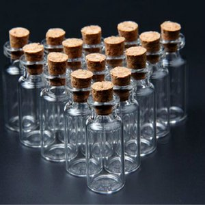 Wholesale- 20 Pcs/pack 16x35 mm Tiny Small Clear Cork Glass Bottles Vials 2 ml For Wedding Holiday Decoration