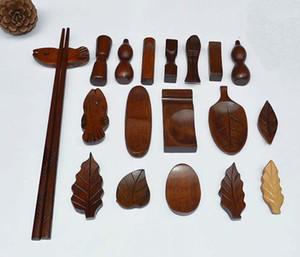 100 Pieces Japanese Wood Wooden Chopsticks Rest Spoon Fork Knife Holder Rack Stand Leaves Fish Pillow Mixed Types Handcraft Restaurant Decor
