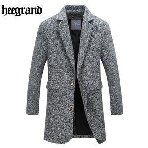 Wholesale- HEE GRAND 2017 새로운 스타일 남자 짧은 코트 긴 소매 솔리드 컬러 하프 캐주얼 오버 코트 남성 양모 혼합 MWN222