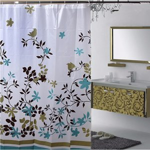 Wholesale- Floral 1.8*1.8m Waterproof PEVA Shower Bathroom Curtain With Hooks Bathing Shower Curtain Fabric Home Bathroom Curtains GI870645