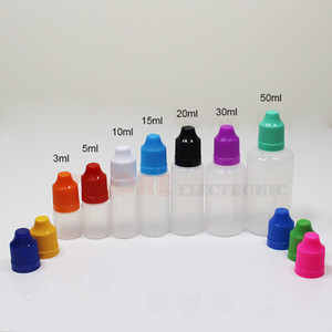 Vape Yağı için E Çiğ Sıvı Şişeler 5 ml 10 ml 15ml 20 ml 30 ml 50 ml Boş Damlalık LDPE Plastik Çocuk Geçirmez Kapaklar Uzun İnce İğne İpuçları