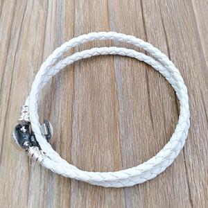 Autêntico 925 Silver Marfim Branco Trançado Duplo-Leather Charm Pulseira se encaixa Europeu Pandora Estilo de Jóias Charms Beads Handmade 590745CIW-D