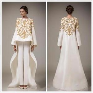 2016 luxe ivoire robe de soirée en or ouvert brûlant pantalon de robe mais la broderie faite robe de soirée robes formelles