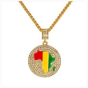 Hip-Hop-Gold überzogen Karte von Afrika Jamaika Rundhalsketten-Anhänger-Mosaik-Kristall-Halskette für Herren