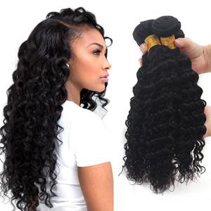 3 Pz dell'onda profonda del Virgin del brasiliano tessuto dei capelli Bundles profondità ricci peruviani mongola malese indiano estensioni dei capelli umani