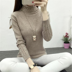 Gros-2016 hiver nouvelles femmes coréennes femme col roulé chemise à fond de tempérament sauvage simple torsion épais couverture mince pull mince