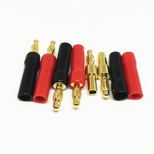 10 Pçs / lote Alta Qualidade de Solda Livre de Ouro 4mm Banana Plug Audio Lanternas Plug Acústica Conectores de fio