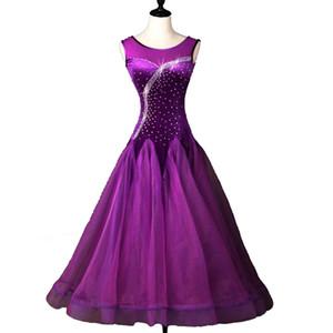 Ballroom Waltz Vestidos Venda Ballroom competição Vestido Tango Costumes Dança Outfit D0091 Pedrinhas Big Hem Sheer