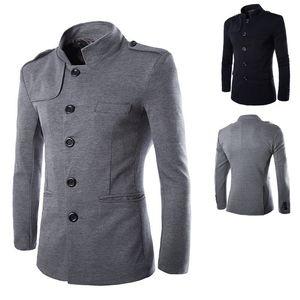 Neuheiten Winter Men Casual Stehkragen Chinese Tunika Anzug Blazer Jacken Schwarz Einreiher dünne Jacke und Mantel M-2XL