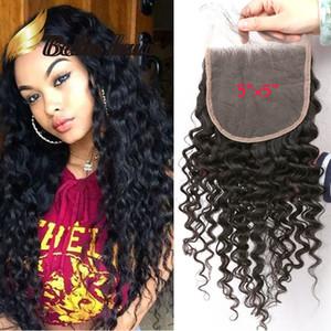 5 * 5 * 6 6 pouces Brazilianhair Curly VAGUE dentelle fermeture POSTICHES couleur naturelle du Pérou Extensions de cheveux bouclés 8 « -20 » Bella cheveux usine