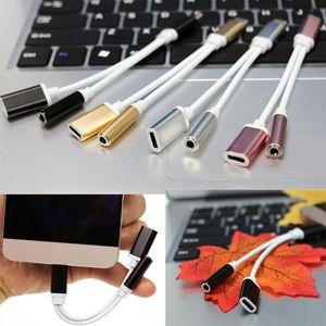 2 en 1 3.5mm Convertidor de cable de audio Auriculares Auriculares Conector Adaptador Divisor Cable de conexión Aux Para el cable de carga tipo C