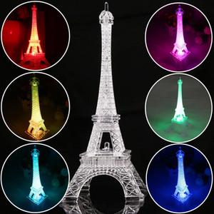 13cm Tour Eiffel coloré Veilleuse Paris Style Décoration LED Lampe de bureau Mode Chambre acrylique Lumière de cadeau de Noël G1L