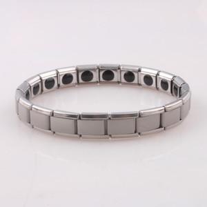 Pulsera de acero inoxidable de plata Moda Hombres / Mujeres Pulseras de joyería Pulsera para regalo de cumpleaños Cuidado de acero de titanio germanio magnético