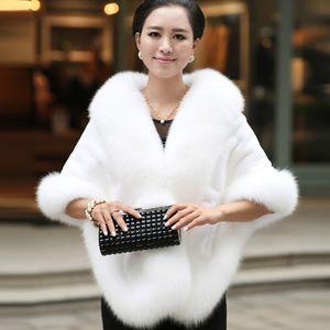 2019 Casaco De Casamento De Inverno Nupcial Faux Fur Wraps xales Quentes Outerwear Preto Borgonha Branco Moda Estilo Mulheres Jaqueta de Festa de Formatura da Noite