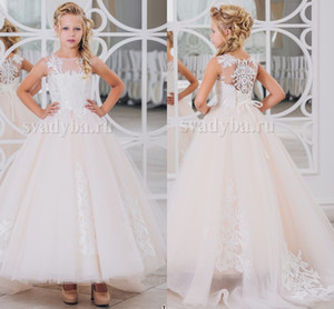 2018 Lace Arabic Flower Girl Dresses Sheer Neck Tulle Ball Gown Child Wedding Dresses Vintage Little Girl Pageant Dresses FG01