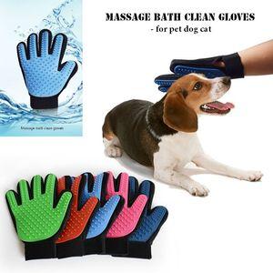 Pet Grooming Dog cat Masaje de baño guantes limpios malla 3D TPR guantes brush 5 colores con caja al por menor