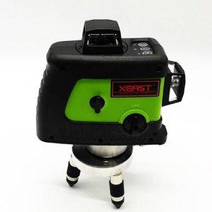 Freeshipping المهنية ليزر مستوى 360 12 خط أخضر ليزر 3D المستوى الذاتي الاستواء عبر خط ليزر 3D شعاع أخضر المستوى
