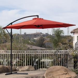 10' Hanging Umbrella Patio Terra Cotta UV Ombre résistant Décalage extérieur W / Base de