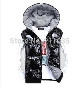 Atacado-Hot Sale PLUS SIZE quente Casual para baixo colete de algodão com um capuz brilhante colete amantes design colete colete de roupas masculinas masculino,