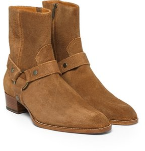 Al por mayor-Dusty Cinnamon Tan Gamuza Biker Boots Suede cuero tobillo Mens Botas Menace Masculina cremallera Up Low Heel Zapatos Zapatos para hombres