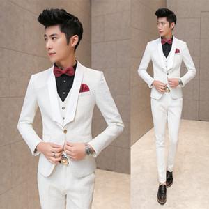 Wholesale- New Fashion Hot  2016 men's casual high quality rose embossing wedding suit male slim korea style blazer vest and pants