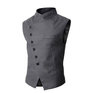 Al por mayor nueva llegada para hombre de la manera del chaleco del chaleco de los hombres a estrenar de alta calidad Negro formal gris hombres de negocios Fit se adapta a la chaqueta para los hombres
