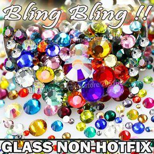Al por mayor-Nail Art Cystals Mix Tamaños Colores Vidrio No Hot Fix Flat Back Rhinestone SS3 SS4 SS5 SS6 SS8 SS10 SS12 SS16 SS20 SS30 SS30 brilla