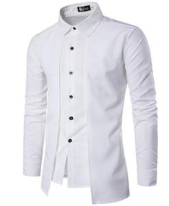 Due pezzi falso Camicia Uomo Design solido di colore doppia abbottonatura monopetto gira giù maniche lunghe uomo camicia casuale libera la nave