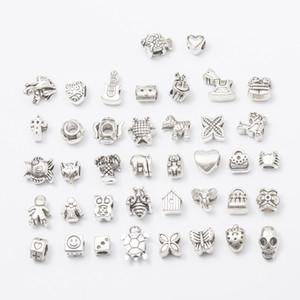 40 Styles Big Hole Loose Beads charmes Mode métal argent crâne européen perles carrées pour Bracelets Colliers fabrication de bijoux En gros
