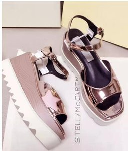 2017 nuova moda all'ingrosso stella mccartney sandali donne elyse fibbia scarpe popolari piattaforma di cuoio genuino dimensioni: 35-39 spedizione gratuita