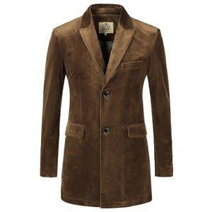 Hommes Slim Fit Longue Solide Velours Blazer Vestes Costume Causal Outwear Manteaux Manteaux Plus La Taille Vin Camel S-5XL X36