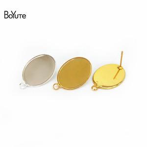 BoYuTe 50шт серебра позолоченные 13*18мм овальная кабошон база настройки серьги лоток ювелирных изделий безель пустой DIY изготовления ювелирных изделий