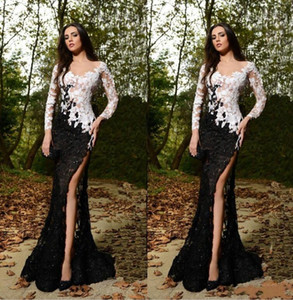 Sexy Free Shipping Full Lace Evening Dresses V-Neck Long Sleeve Prom Gowns Elegant Side Split Long Party Dresses