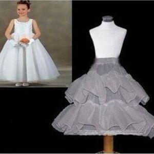 2.017 niños Enaguas boda de la novia de dama Accesorios crinolina Blanco 1-aro de 2 capas vestido de niña de las flores Kid enagua