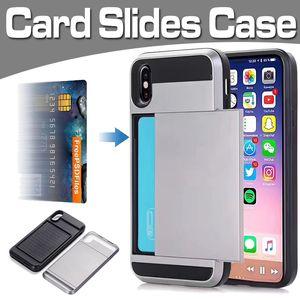 Slides Case Antiurto Difensore Hard Armor Dual Layer Card Cover per iPhone XS Max XR X 8 7 6 Plus Samsung Note 9 S9 S8 S7 J3 J4 J6
