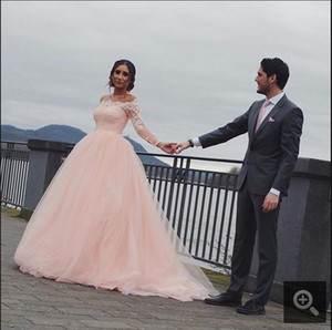 2017 Blushing Pink Long Lace Prom Dresses With Long Sleeves Off the Shoulder Dubai Evening Gowns Lace Top Tulle Skirt Custom Made
