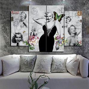 Pinturas sin marco de arte blanco y negro de Marilyn Monroe 4pcs (sin marco) HD Print Painting