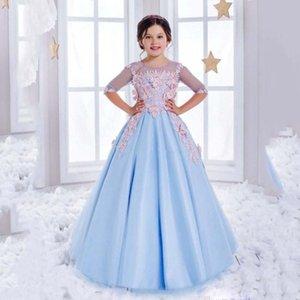2017 Sweet Half Sleeves Light Blue Gorgeous Scoop Satén Vestidos de niña de las flores vestido de bola Niñas Vestidos del desfile Kids Birthday Prom Party Gowns
