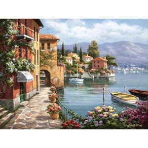 Decoratiive art mediterranean arch painting Sung Kim Villa de Lago modern Italian Landscapes for wall decor hand-painted