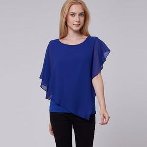 Young17 verão blusas azul moda feminina o manga curta pescoço chiffon blusa camisas soltas Falbala encabeça mulheres blusa amarela