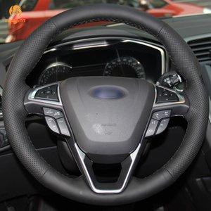 Mewant Noir en cuir artificiel volant de voiture Couverture pour Ford Fusion Mondeo 2013 2014 EDGE 2015 2016