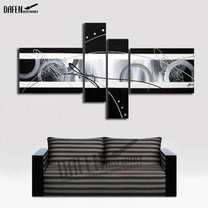 100% pintado a mano pintura al óleo abstracta en blanco y negro lienzo pinturas de pared 4 unids / set arte de la pared para sala de estar decoración sin marco