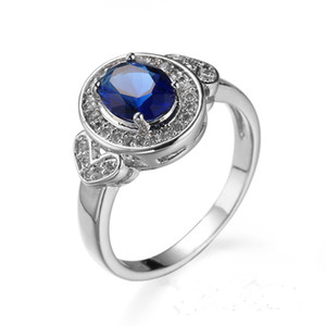 Simple Jewelry Sapphire Zircon CZ Gems 10KT Gold Filled Promise Ring Wedding Party Finger Rings Sz6-10