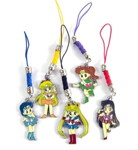 Hot! 5 Set Anime Sailor Moon Personaggio dei cartoni animati Figura in metallo Bambole Giocattoli Con portachiavi Ciondolo Cinturino per telefono Confezione in cartone blister