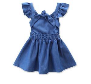 Baby Girls Jeans Dress 2017 Summer Cute Kids Ruffles Sleeve Backless Princess Denim Dress Children Casual Dresses Clothes 13147