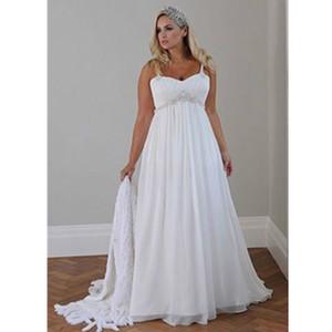 Tallas grandes Estilo de verano Nuevos vestidos de novia Cristal drapeado Correas de espagueti Gasa Vestidos largos de novia de playa Plisados Casual por encargo