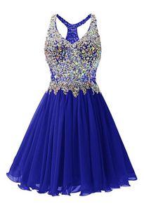 Perlée cristal v cou en mousseline de soie bleu robes de soirée retour robe de soirée élégante