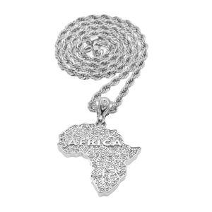 Африка Кулон с Родиевым Покрытием Горный Хрусталь Серебристого Цвета Унисекс Женщины Мужчины Мода Африканская Карта Ожерелье 6 мм Твист Цепи Хип-Хоп Ювелирные Изделия