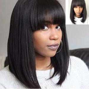 Brazilian Virgin Human Hair Lace Wig for Black Women Bob Straight Weave Lace Front Wigs 130% Medium Cap Bellahair